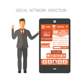 Man holding smartphone with social network app showing numbers of photos, friends, followers, messages, likes end etc. Man holding smartphone with social royalty free illustration