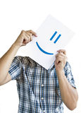 Man Holding a Smile in Front of face Stock Images