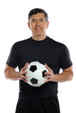 Man Holding Soccer Ball Royalty Free Stock Images