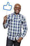 Man holding a social media sign smiling Royalty Free Stock Photography