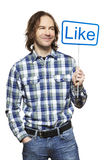 Man holding a social media sign smiling Royalty Free Stock Images