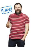 Man holding a social media sign smiling Royalty Free Stock Photo