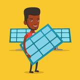 Man holding solar panel vector illustration. African-american worker of solar power plant holding solar panel in hands. Vector flat design illustration. Square Royalty Free Stock Images