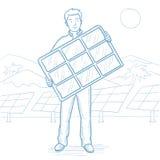 Man holding solar panel vector sketch illustration Stock Image