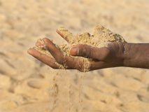 Man holding some sand in the hand: drought and desertification Stock Images