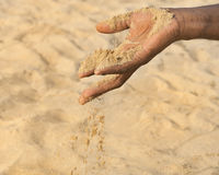 Man holding some sand in the hand: drought and desertification. Man holding some sand in the hand : drought and desertification Royalty Free Stock Photos