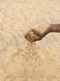 Man holding some sand in the hand: drought and desertification Royalty Free Stock Image