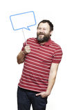Man holding a speech bubble sign smiling Royalty Free Stock Photography