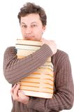 Man holding stack of books Stock Photos
