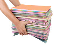 Man holding stack of folders Stock Photography