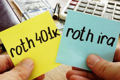 Man holding sticks with roth 401k vs roth ira. Retirement. Man is holding sticks with roth 401k vs roth ira. Retirement royalty free stock image