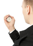 Man holding stopwatch Royalty Free Stock Photo