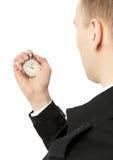 Man holding stopwatch royalty free stock photo