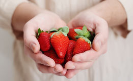 Man holding a strawberry Stock Images