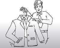 Man Holding Suit on Hanger. Hand-drawn black on white image of a man in a shirt and tie holding up and pointing to a suit jacket, shirt and tie on a hanger in royalty free illustration