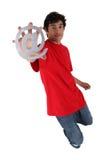 Man holding at symbol Stock Photo