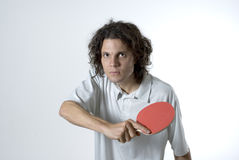 Man Holding a Table Tennis Paddle - Horizontal Royalty Free Stock Photo