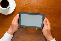 Man holding  tablet computer Stock Photos