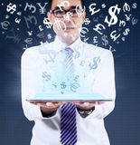 Man holding tablet for making money online Stock Photos