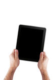 Man Holding Tablet PC. Isolated stock photo