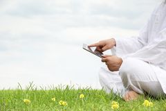 Man holding tablet pc Stock Photography