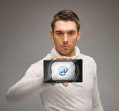 Man holding tablet pc with email icon Royalty Free Stock Photo