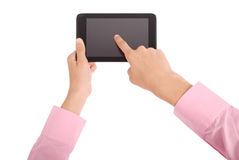 Man holding tablet PC Stock Images