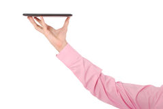 Man holding tablet PC Royalty Free Stock Image