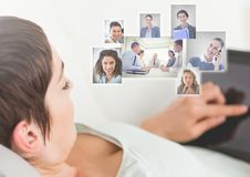 Man holding tablet with Profile portraits of people contacts Royalty Free Stock Images
