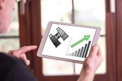 Business perspective concept on a tablet. Man holding a tablet showing business perspective concept Royalty Free Stock Photo