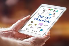 Online training concept on a tablet stock photography