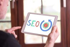 Seo concept on a tablet royalty free stock images