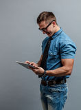 Man holding tablet Royalty Free Stock Photo