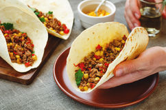 Man holding tacos with meat, corn and peppers Stock Photos