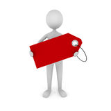 Man Holding Tag. 3D man holding empty red tag. Great concept for advertisement, sale announcement, etc Royalty Free Stock Photos