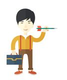 Man holding a target arrow. A chinese man holding a target arrow looking for the target pad for him to achieve his goal A contemporary style. Vector flat design Royalty Free Stock Image