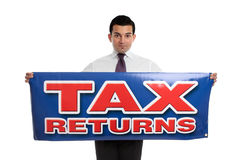 Man holding tax returns sign. A businessman or accountant holding a tax returns sign.  Or replace with your own message.  White background Stock Photo