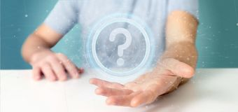 Man holding a Technology question mark icon on a circle 3d rendering. View of a Man holding a Technology question mark icon on a circle 3d rendering royalty free stock photos