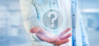 Man holding a Technology question mark icon on a circle 3d rendering. View of a Man holding a Technology question mark icon on a circle 3d rendering royalty free stock image