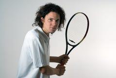 Man Holding a Tennis Racket - Horizontal Stock Image