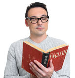 Man holding a textbook. Learning English concept. Isolated Royalty Free Stock Images