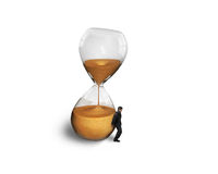 Man holding the tilt hourglass Stock Image