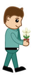 Man Holding a Tiny Flower Plant - Business Vector Stock Image