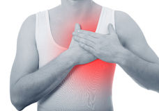 Man holding to the chest, heart attack or arrhythmia Royalty Free Stock Images
