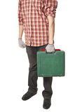 Man holding toolbox in hand. Isolated on white background Royalty Free Stock Image