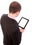 Man holding a touchpad pc Royalty Free Stock Images