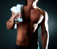 Man holding towel Royalty Free Stock Photos