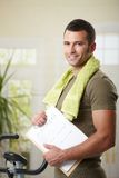 Man holding training plan Royalty Free Stock Image
