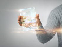 Man holding transparent phone Stock Photos