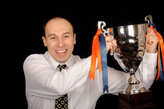 Man Holding Trophy Royalty Free Stock Images